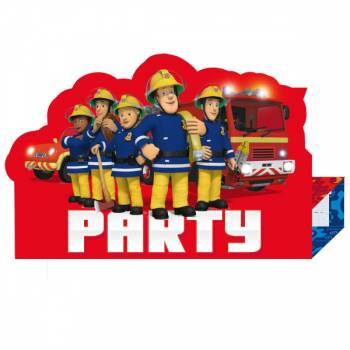 8 Invitations avec enveloppes Sam le pompier