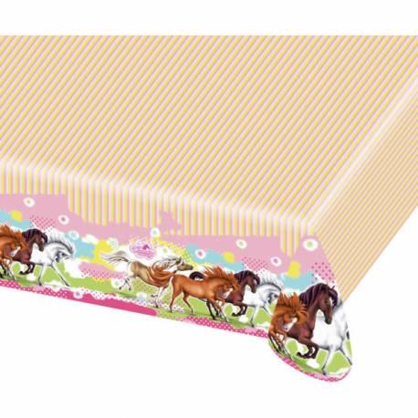 Nappe en plastiquepour anniversaire thème cheval Dimensions : 180 cm x 120 cm