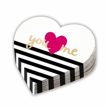 12 serviettes coeur you love me