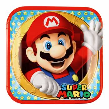 8 Assiettes carrée Mario Bros