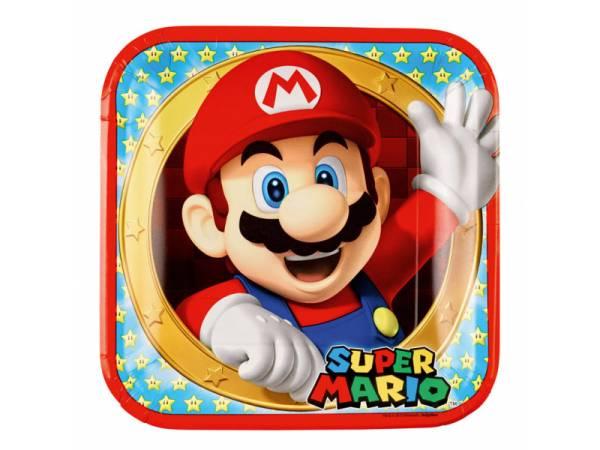 8 Assiettes carrée Mario Bros- deco anniversaire