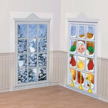 2 Décors muraux fenêtre de Noël