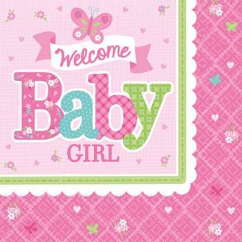16 Serviettes à dessert Welcome Baby girl