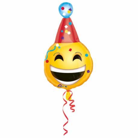 Ballon en aluminium à gonfler avec ou sans hélium à l'aide d'une paille En forme d'emoticon anniversaire Dimensions : 63 cm x 35 cm