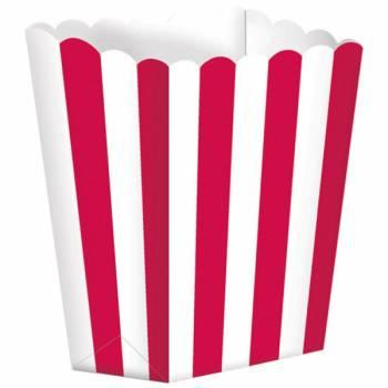 5 Boîtes Pop corn rayures rouges