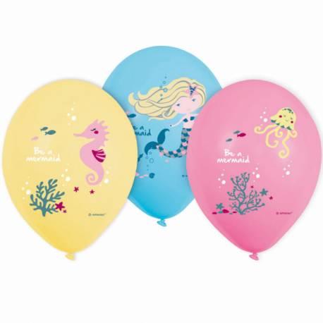 6 Ballons en latex pour la décoration anniversaire thème sirène de votre fille. Couleur pastel jaune rose et bleu Dimensions : Ø28cm