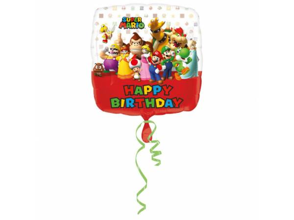 Ballon hélium carrée Mario Bros birhday- deco anniversaire