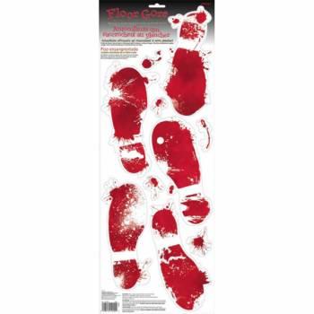 8 Stickers trace de pas sanglant sanglants