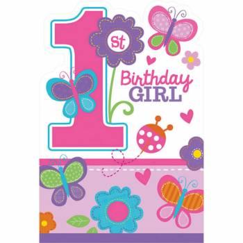 8 Invitations + enveloppes Sweet girl 1an