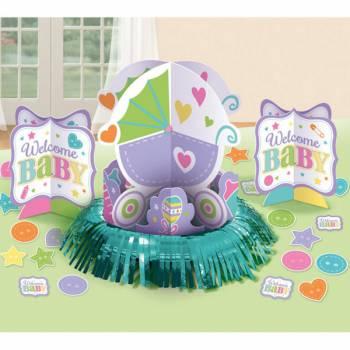 Kit décor de table Baby shower color