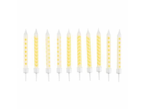 Bougies d'anniversaire pois et chevrons jaune