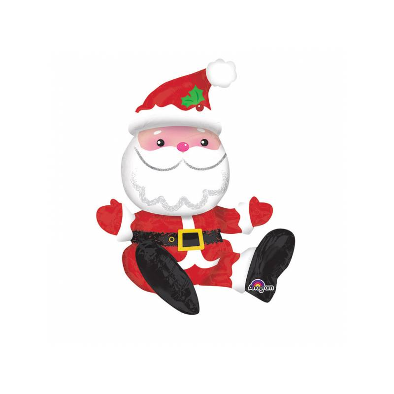 Pere Noel Assis Ballon hélium géant Père Noël assis