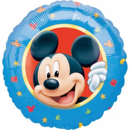 Ballon géant Mickey bleu Ballon en aluminium pouvant étre gonflé avec ou sans hélium à l'aide d'une paille Dimensions: Ø45 cm Vendu a...