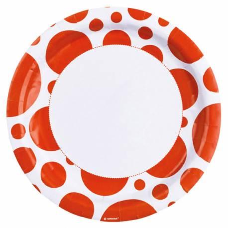 8 Assiettes en carton à pois orange Dimension: Ø 23 cm