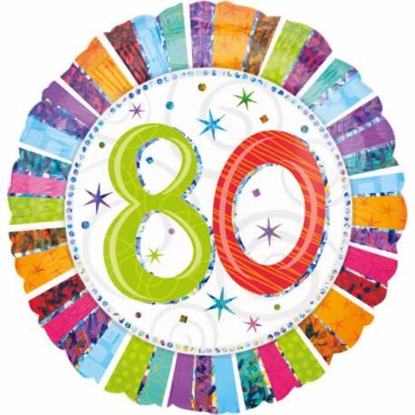 Ballon 80 ans à effet holographique pour la deco de salle de votre fête d'anniversaire. Ballon en aluminium pouvant étre gonflé avec ou...