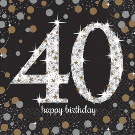 16Serviettes en papierthème Pétillant Or argent 40 ans Dimensions : 16.5cm x 16.5cm/ 33cm x 33cm Parfait pour la deco de votre fête ou...