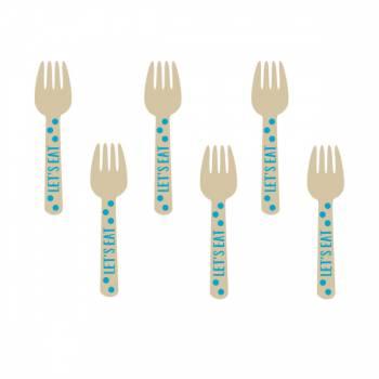 12 Minis fourchettes en bois pois bleu