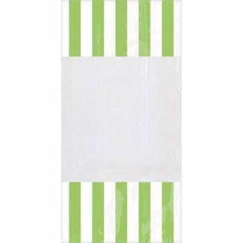 10 sacs à confiseries rayures vertes