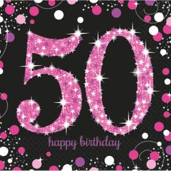 16 Serviettes Pétillante pink 50ans