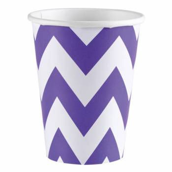 8 Gobelets carton chevrons violet