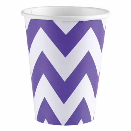 8 Gobelets en cartonchevrons violet Contenance : 25 ml