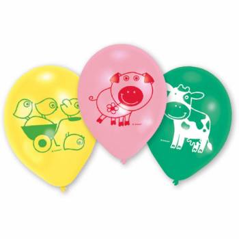 6 Ballons latex animaux de la ferme