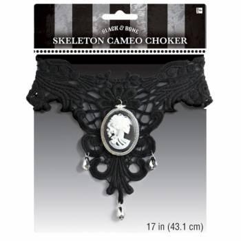 Tour de cou baroque camée squelette