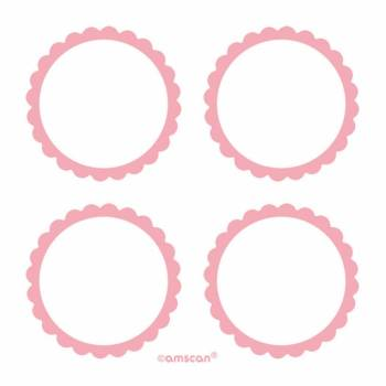 Etiquettes adhesives rose - Deco Anniversaire.fr