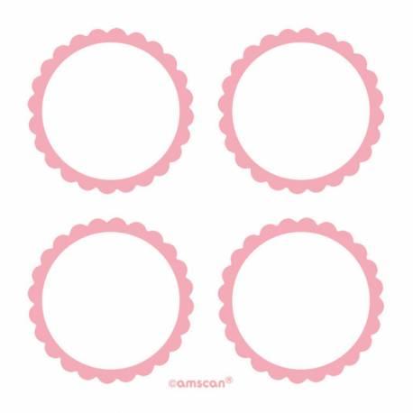 Paquet de 20 étiquettes autocollantes rose en papier pour vos candy bars, contenants... Diamètre: Ø 5 cm