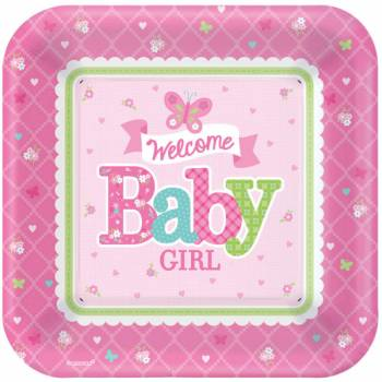 8 Assiettes Welcome Baby girl
