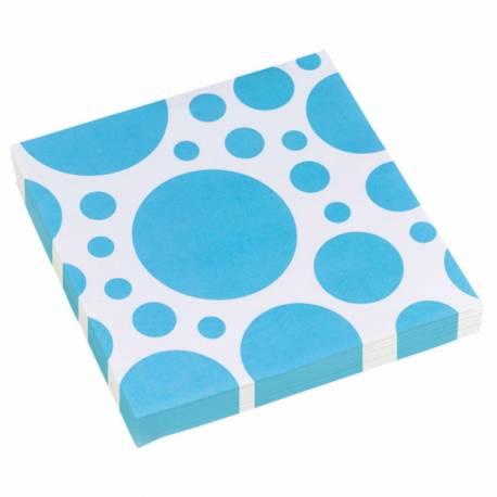 20 Serviettes en papier à pois turquoise Dimensions : 33 cm x 33 cm