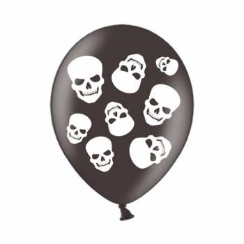 6 Ballons noir tête de mort