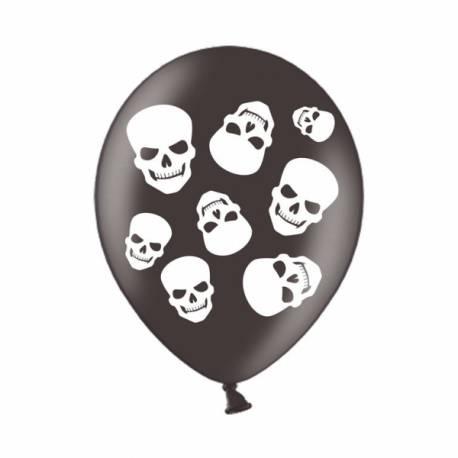 6 Ballons en latex noir avec impression tête de mort blanche. Ø 28 cm