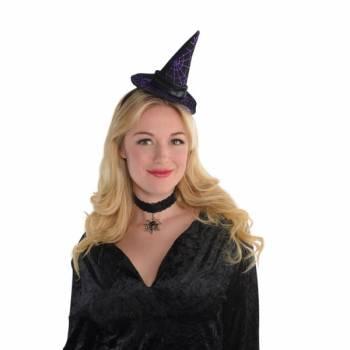 Serre tête chapeau sorcière violet araignée