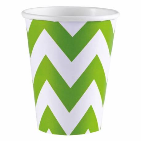8 Gobelets en cartonchevrons vert Contenance : 25 ml