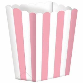 5 Boîtes Pop corn rayures roses