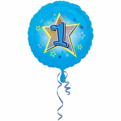 Ballon bleu 1 an pour anniversaire garçon  Ballon en aluminium pouvant étre gonflé avec ou sans hélium à l'aide d'une...