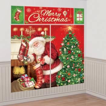Kit décor mural géant Père Noël