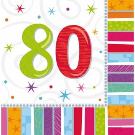 Paquet de 16 serviettes 80 ans Colorstars pour la deco de table de votre fête d'anniversaire. Dimensions : 33 cm x 33 cm serviette...