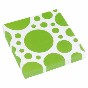 20 Serviettes papier pois verte