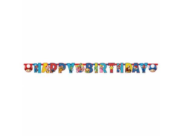 Banderole Happy Birthday Mario Bros- deco anniversaire