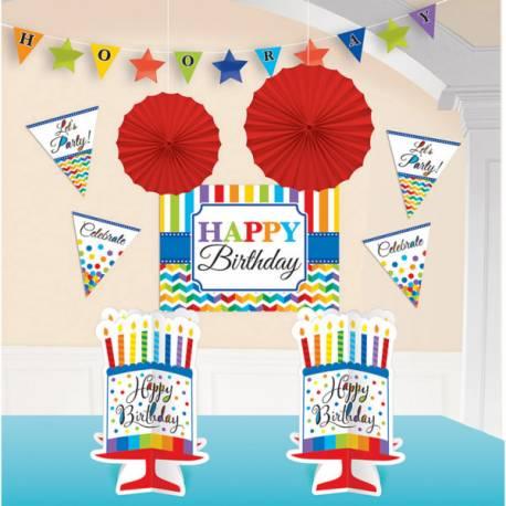 Assortiment de décorations pour votre lieu de fête thème Happy Birthday Color flash Contient: 1 guirlande de fanions, 2 suspensions...