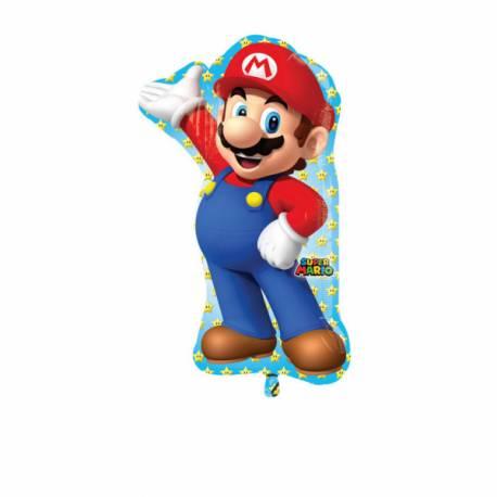Ballon Super Mario Brosgéant en aluminium pouvant être gonflé avec ou sans hélium (à l'aide d'une paille), pour la deco anniversaire de...