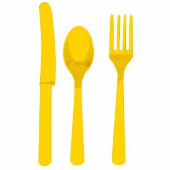 24 Couverts plastique jaune