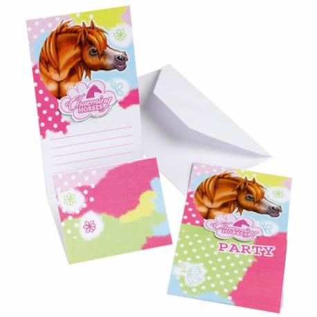 6 Cartes d'invitations + enveloppepour anniversaire thème cheval