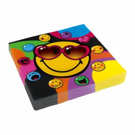 20Serviettes Smiley en papier pour la deco de vos anniversaires. Dimensions : 16.5cm x 16.5cm/ 33cm x 33cm