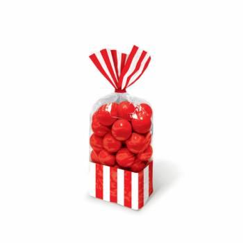 10 sacs à confiseries rayures rouge