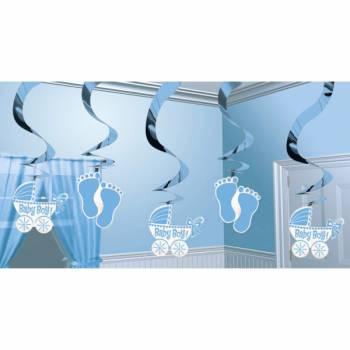 5 Suspensions baby shower Baby bleu