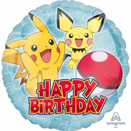 Ballon hélium Pokemon Happy birthday pouvant être gonflé avec ou sans hélium à l'aide d'une paille Thème anniversaire Pokemon Dimensions...