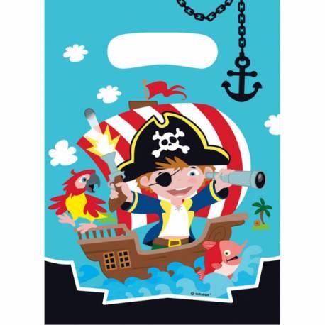 8 Sachets de fête piratepour la deco d'anniversire sur le thème des pirate Longueur: 18cm x 13cm